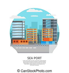 Sea Port Round Design - Sea port round design with barge and...