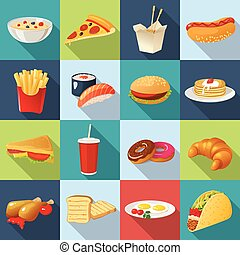 Fast Food Square Icon Set