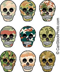 camo Skull - Gothic coat of arms with skull, grunge.vintage...