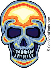 color skull - Gothic coat of arms with skull, grunge.vintage...