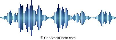 blue Sound waves - Blue sound waves for party isolated on...