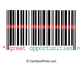 Scanning Great Opportunities Barcode Macro Closeup, Isolated...