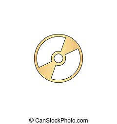 CD DVD computer symbol - CD DVD Gold vector icon with black...