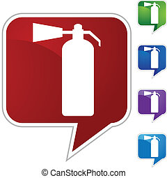 Fire Extinguisher web button isolated on a background
