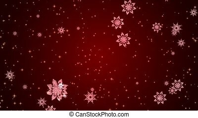 Video-animation of snowflakes and stars falling over red...