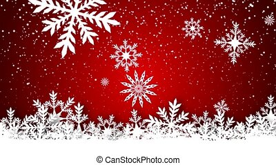 Video-animation of snowflakes falling over red background -...