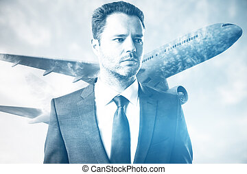 Business trip concept - Portrait of attractive young...