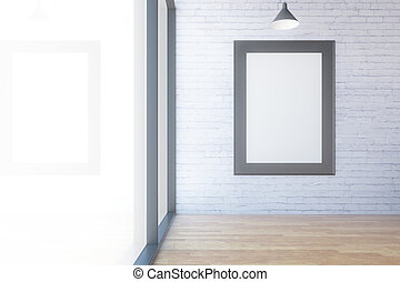 Room with empty picture frame
