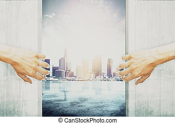 Urbanization concept - Hands opening abstract wooden doors,...
