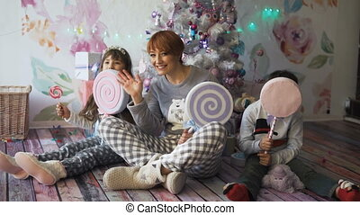 Happy Family Having Fun - Happy mother with her kids having...