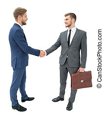 lawyer shaking hands with client welcoming him at the...