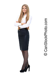 portrait of young business woman - referent on white background