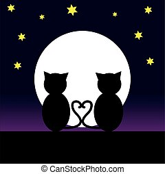 Cats in the night - Cat in love at night with moon. Vector...