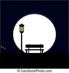 Bench with lamp at night