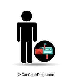 silhouette man with email mail correspondence
