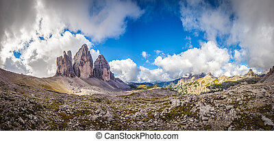 Three peaks. National Park Tre Cime di Lavaredo. Dolomites,...