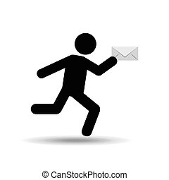 sihouette man running email vector illustration eps 10