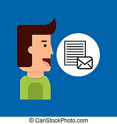 cartoon man tablet email letter document