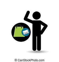 silhouette man with email shop market vector illustration...