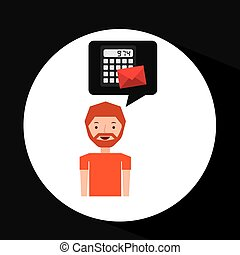 man business message calculator email vector illustration...