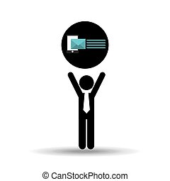 silhouette man with email send message vector illustration...