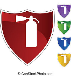 Fire Extinguisher web button isolated on a background.