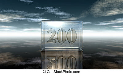 number two hundred in glass cube under cloudy sky - 3d...