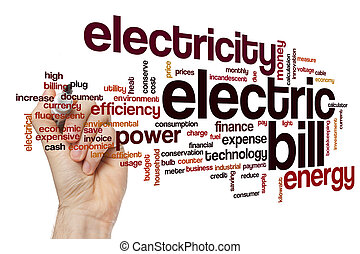 Electric bill word cloud concept