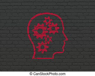 Marketing concept: Head With Gears on wall background -...