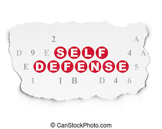 Protection concept: Self Defense on Torn Paper background -...