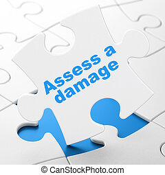 Insurance concept: Assess A Damage on puzzle background -...