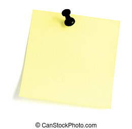 Blank Sticky note With Black Pushpin - Blank Yellow Post-It...