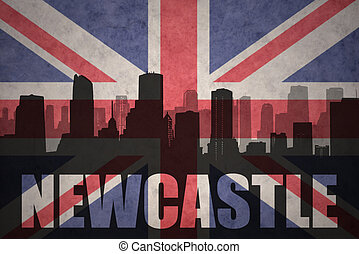 abstract silhouette of the city with text Newcastle at the vintage british flag