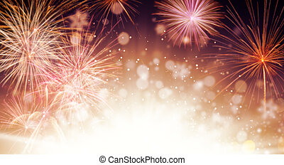Abstract firework background with free space for text -...