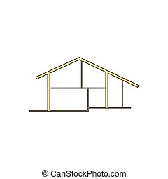 cottage computer symbol - cottage Gold vector icon with...
