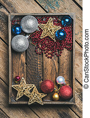 Christmas or New Year holiday decoration background in...