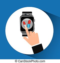 smart watch health technology medication design vector...
