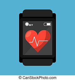 smart watch medical service heart rate vector illustration...