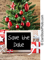 Colorful Christmas Tree, English Text Save The Date -...