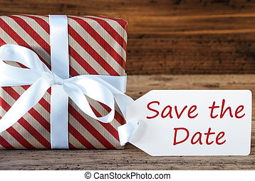 Present With Label, English Text Save The Date - English...