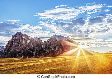 Alpe di Siusi, mountain ridge in Dolomites mountains. Italy,...