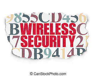 Privacy concept: Wireless Security on Torn Paper background...