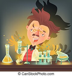Bushy haired mad professor in lab coat experimenting with...