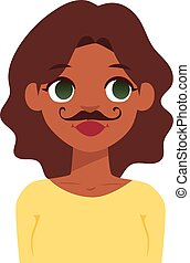 Woman emoji face vector - Beard and mustache funny oman...