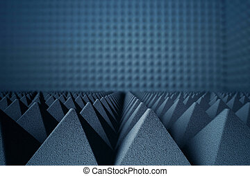 Acoustic foam pyramids - Abstract dark grey acoustic foam...