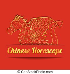 Chinese horoscope background with golden dragon