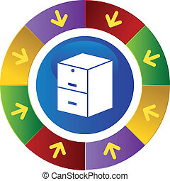 Filing Cabinet web button isolated on a background.