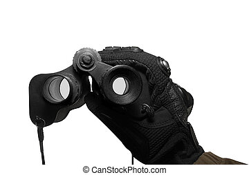 Isolated soldier arm holding binoculars. - Isolated first...