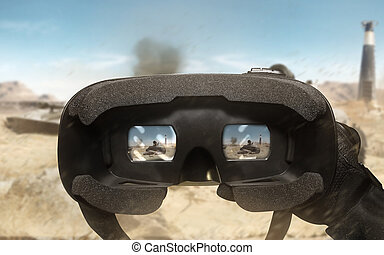 First person view soldier arm using vr glasses. - First...