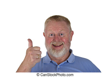 Laughing male senior holding thumbs up on white background